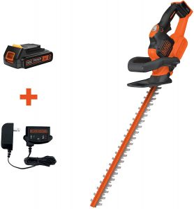 BLACK+DECKER 20V MAX Cordless Hedge Trimmer with POWERCOMMAND Power Cut, 22-Inch (LHT321FF)