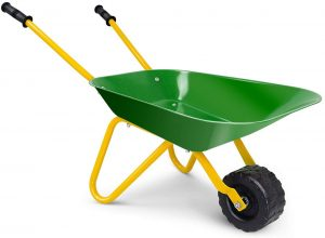 Costzon Kids Metal Wheelbarrow, Yard Rover Steel Tray