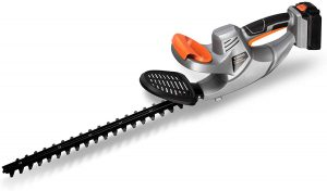UKOKE U01HT Cordless Electric Power Hedge Trimmer, 20-inch Dual-Action Blade, 3/4in. Cutting Thickness, Silver & Black 20V 2A Battery & Charger Included