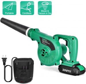 Cordless Leaf Blower - Kimo 20v Lithium 2-in-1 Sweeper Vacuum 2.0 Ah Battery For Blowing Leaf, Clearing Dust & Small Trash,Car, Computer Host,Hard To Clean Corner