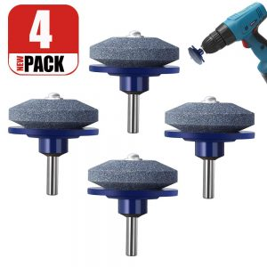 Lawn Mower Sharpener for Any Power Drill Hand Drill (4 pcs Blue)