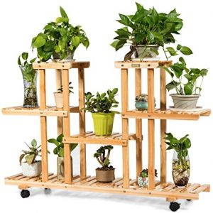 Giantex Rolling Flower Rack Wood Plant Stand