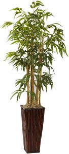 Nearly Natural Bamboo with Decorative Planter