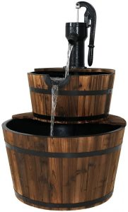 Sunnydaze Wood Barrel Water Fountain